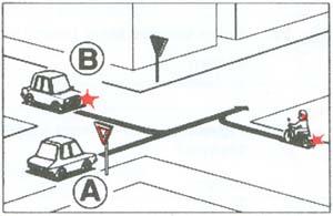 Motorkerékpárjával az ábrán látható útkeresztez?déshez érkezik. Melyik járm? haladhat tovább els?ként?