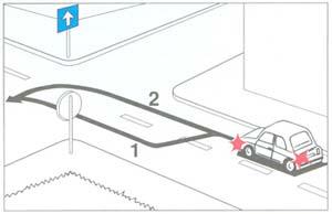 Ön a személygépkocsival balra kíván bekanyarodni. Melyik pályavonal a helyes, ha egyirányú forgalmú úton közlekedik?