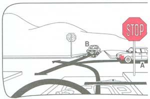 Mikor haladhat át a kormánykerékkel ábrázolt gépkocsi az útkereszteződésben?