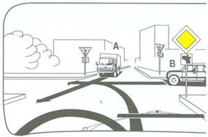 Hányadikként haladhat át az útkeresztez?désben a kormánykerékkel ábrázolt gépkocsijával?