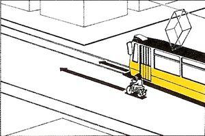 Megel?zheti e az ábrázolt helyen és módon a motorkerékpár a villamost?